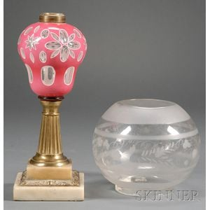 Sandwich Cut Double Overlay Glass Lamp with an Etched Glass Shade