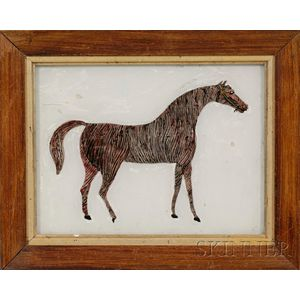 Small Reverse-painted Glass Tinsel Picture of a Horse