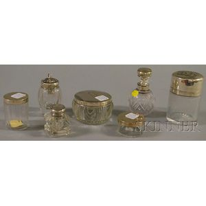 Seven Sterling Silver Mounted Scent/Colognes, Dresser Jars and Inkwells