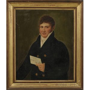 Italian/American School, 19th Century      Portrait of a Gentleman Holding a Letter.