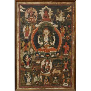 Thangka Depicting the Four-armed Avalokitesvara