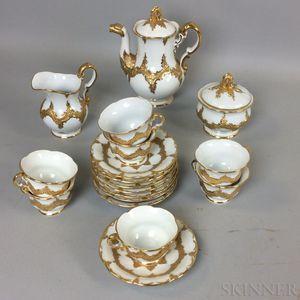 Eighteen-piece Meissen Gilt Porcelain Tea Service