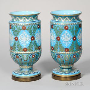 Two Russian Imperial Enameled Glass Urns