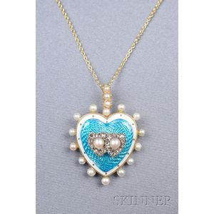 Antique 14kt Gold, Enamel, Seed Pearl, and Diamond Heart Pendant