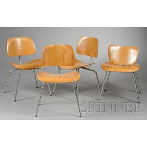 Four Charles Eames DCM Chairs