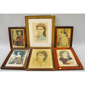 Six Framed Currier & Ives Small Folio Hand-colored Lithograph Portraits of Women   and Girls