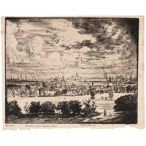 Joseph Pennell (American, 1860-1926)      London over Hampstead