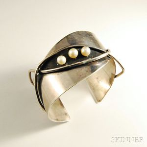 Esther Lewittes Sterling Silver and Pearl Cuff