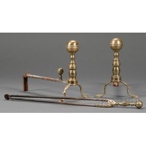Pair of Brass and Iron Ball-top Andirons with a Pair of Tongs
