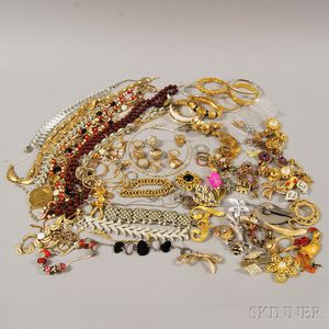 Group of Mostly Signed Gold-tone Costume Jewelry