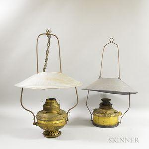 Two Brass Hanging Kerosene Lamps
