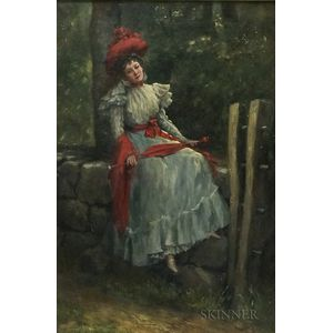 Charles Ayer Whipple (American, 1859-1928)      Lady with Red Hat and Sash