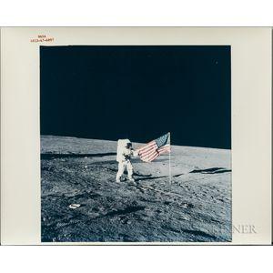 Apollo 12, Astronaut Pete Conrad with the American Flag, November 19, 1969.