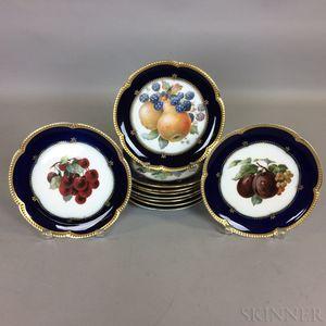 Set of Ten Bavarian Krautheim Transfer-decorated Porcelain Fruit Plates