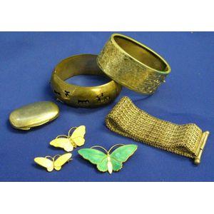 Three Silver Bracelets and Three Norwegian Enamel Pins