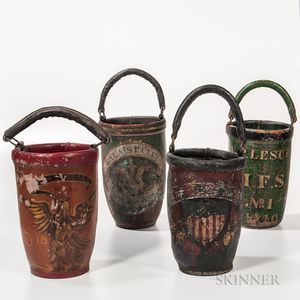 Four Painted Leather Fire Buckets