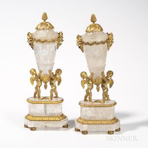 Pair of Louis XV-style Dore Bronze-mounted Rock Crystal Urns