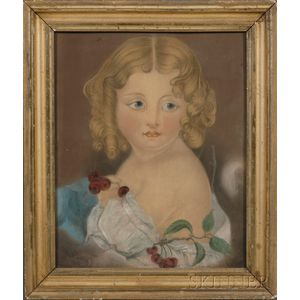 American School, 19th Century      Portrait of a Young Girl Holding a Bunch of Cherries.