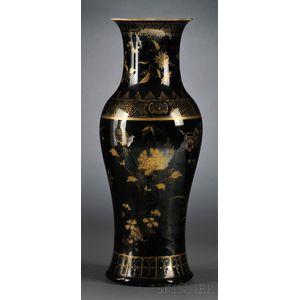 Gilt Mirror Black Vase