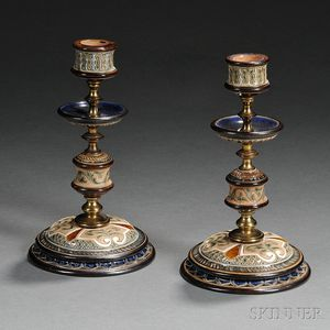 Pair of Doulton Lambeth Frank Butler Decorated Stoneware Candlesticks