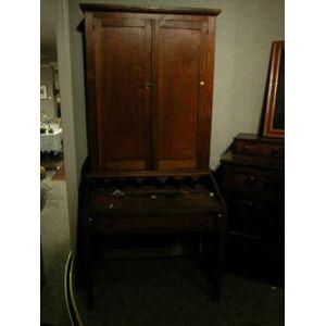 Late Federal Walnut Desk Bookcase.