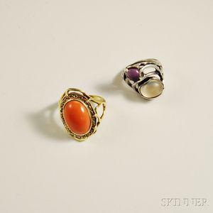Two Clifford Hansen Stone-set Rings