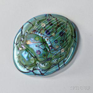 Modern Iridescent Glass Scarab Paperweight