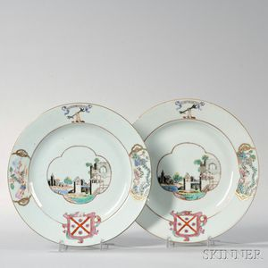 Pair of Export Porcelain Armorial Plates