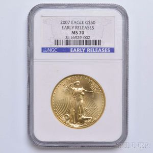 2007 $50 One-ounce Gold Eagle, NGC MS70