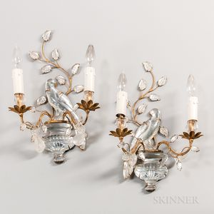 Pair of Maison Bagues-style Crystal Sconces