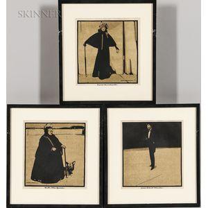 William Nicholson (British, 1872-1949)      Three Portraits: H.M. The Queen ;  Sarah Bernhardt