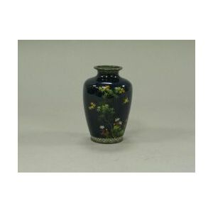 Japanese Silver Mounted Floral and Bird Cloisonne Vase