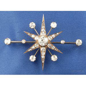 Antique Diamond Starburst Brooch