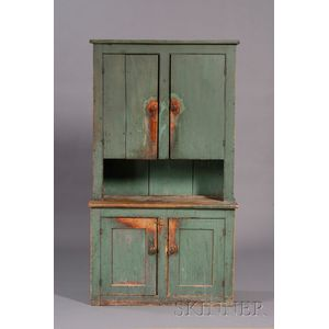 Blue-green-painted Pine Step-back Cupboard