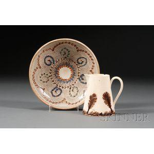 Mochaware Cream Jug and Slip-decorated Earthenware Dish