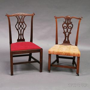 Two Chippendale Carved Mahogany Side Chairs