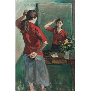 Nicolai S. Cikovsky (American, 1894-1987)      Girl at Mirror