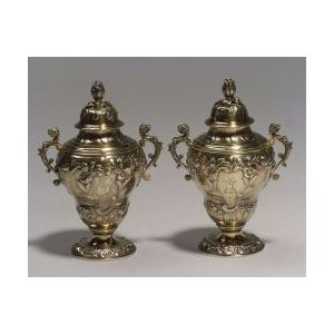 Pair of George II Silver Gilt Tea Caddies in Fitted Case