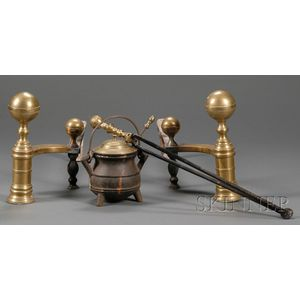 Pair of Brass and Iron Ball-top Andirons, Matching Tongs, and a Cape Cod Lighter