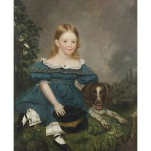 Anglo/American School, 19th Century  Portrait of a Child in Blue Seated in a Landscape with a Spaniel.