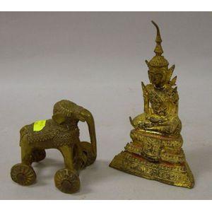 Southeast Asian Bronze Buddha and Elephant Deity Figures.