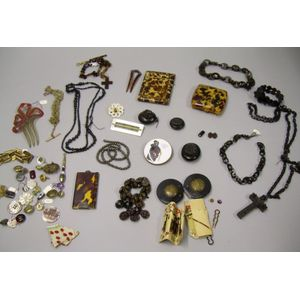 Group of Faux Tortoiseshell, Gutta Percha, Mother-of-pearl, and Other Accessories and Jewelry.