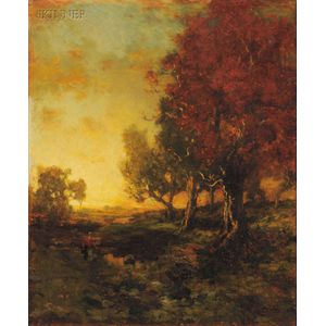 George Herbert McCord (American, 1848-1909)      Autumn Walk at Sunset