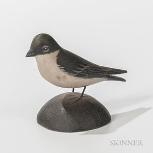 Elmer Crowell Carved and Painted Miniature Tree Swallow
