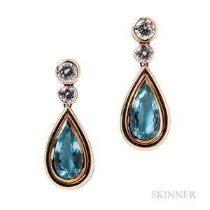 18kt Gold, Aquamarine, and Diamond Earrings