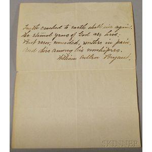 William Cullen Bryant Signed Handwritten Verse