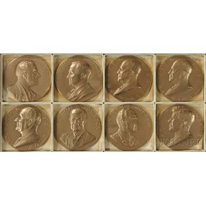 Eight U.S. Mint Bronze Commemorative Presidential Medals