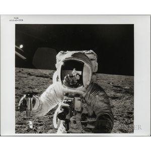 Apollo 12, Alan Bean with a Reflected Image of Pete Conrad on the Moon, November 1969.
