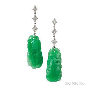 Platinum, Jade, and Diamond Earrings