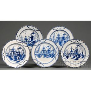 Five Blue and White Chinoiserie-decorated Pearlware Plates